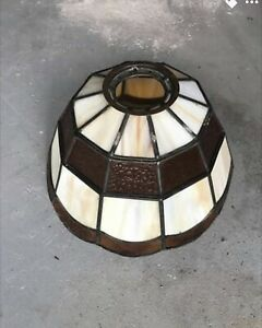Vintage Mission Style Stained Slag Glass Lamp Shade Free Shipping