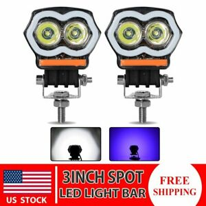 2x 3inch Led Work Light Bar Spot Driving Fog Lamp Blue Drl Offroad Suv Atv 20w