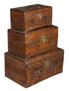 Three Antique Chinese Camphor Wood Carved Boxes Graduated Size C1890