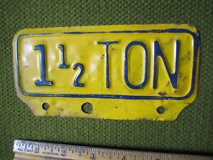Vintage 1 1 2 Ton Truck License Plate Topper Accessory Pickup Ford Gm Ram Dodge