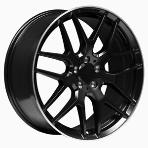 20 Inch Staggered Matte Black Machined Lip Mercedes Replica Wheels 669