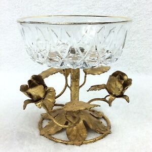 Italian Tole Vintage Gold Roses Gilt Candy Dish Compote Glass
