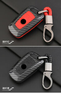 Carbon Fiber Red Car Key Case Holder Accessories For Bmw 3 5 Series Us Shipping