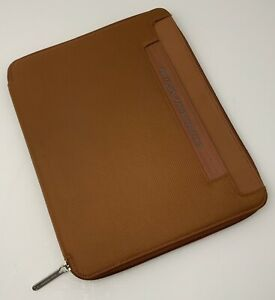 Piquadro Large Organizer Portfolio Binder Tobacco Brown Zip Around Nylon Leather