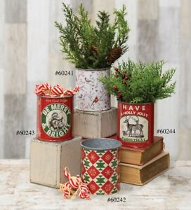 Primitive/ Country Holiday Christmas Vintage Tin Cans 4 Styles