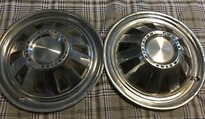 Set Of 2 Pontiac Motor Division Pmd Hub Caps Wheel Cover 14 Inch Vintage