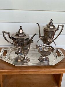 International Silver Co Silver Plate On Copper Tea Set With Tray Marked Mbc Ep