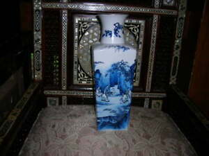 Very Pretty Antique Late Meiji Period Porcelain Japanese Blue White Vase 15x5x4