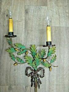 Vintage Toleware Wall Light Fixture Shabby Toleware Wall Sconce Made In Italy