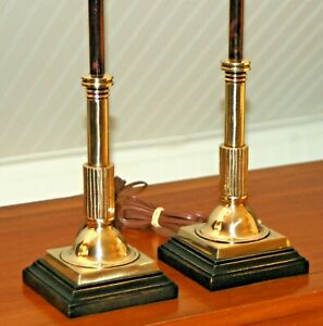 Pair Brass Neoclassical Lamps Empire Classical Black Wood Candlesticks 20th C