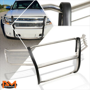 For 07 14 Chevy Suburban Tahoe Front Bumper Brush Grille Guard Protector Chrome
