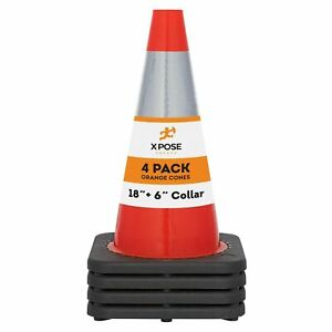 Orange Traffic Cones 18 Inch With 6 Collar Pvc Plastic Safety Cone