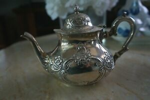 Sterling Silver Repousse Victorian Teapot Chocolate Pot