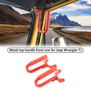 2pcs Front Grab Grip Bar Handles Red For Jeep Wrangler Tj Unlimited 1997 2006