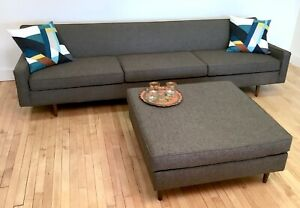 9 Ft Vintage Reupholstered Gray Sofa W Ottoman Mid Century Modern Grey Couch
