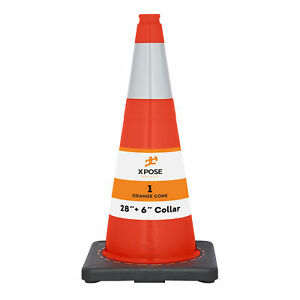 28 Inch Orange Traffic Cones With 6 Collar Pvc Plastic Safety Cone