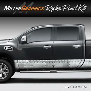Riveted Metal Distressed Rocker Panel Graphic Decal Wrap Kit Truck Suv 4 Sizes