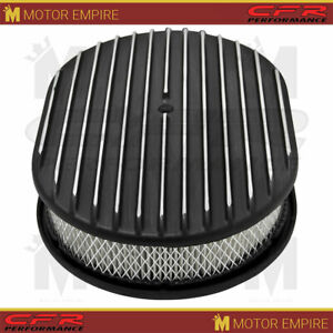For Chevy Ford Mopar Aluminum 12 Oval Air Cleaner Paper Filter Polished Finned