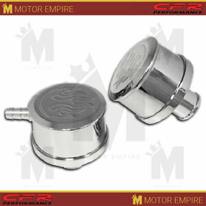 Fits Chevy Ford Mopar Polished Billet Aluminum Breather Set W Pcv Flamed