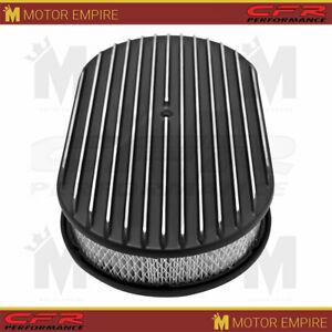 Fits Chevy Ford Mopar Al 15 Oval Air Cleaner Paper Filter Polished Finned Black