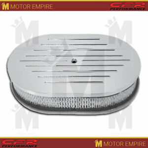 For Chevy Ford Mopar 12 Oval Polished Aluminum Air Cleaner Ball Milled