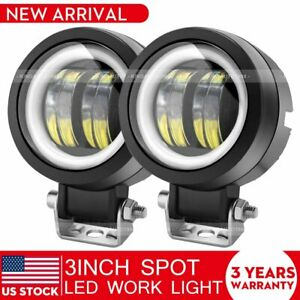 2x 3 Inch White Halo Led Spot Work Light Bar Pods Off Road Driving Fog Lamps