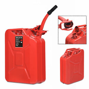 5 Gallon 20l Jerry Fuel Can Steel Gas Container Emergency Backup W Spout Red