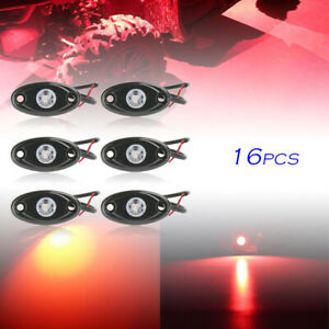 16pcs 9w Red Led Rock Lights For Jeep Offroad Truck Under Body Trail Rig Lamp