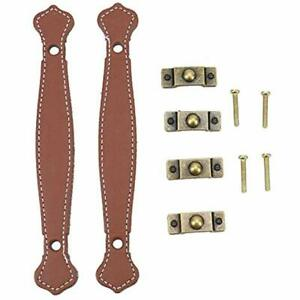 4 Luggage Straps Pack Antique Leather Furniture Handle Trunk Pull Replacement