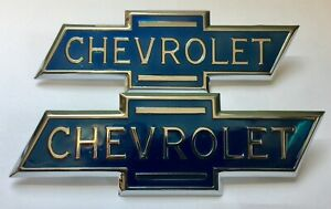 1936 1937 1938 Chevrolet Chevy Trucks Hood Side Emblems Pair Free Shipping