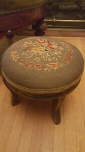Antique Vtg Floral Needlepoint Carved Solid Wood Foot Stool Ottoman Blue