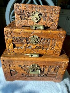 Rare Nesting Set Of 3 Antique Hand Carved Ornate Chinese Camphor Wood Carving