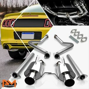 For 11 14 Ford Mustang 3 7 V6 Dual 4 Tip Muffler Performance S S Catback Exhaust
