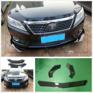 Glossy Black Abs Universal Car Front Bumper Lip Splitter Fins Body Spoiler Chin