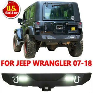Textured Rear Bumper Winch d rings Rock Crawler Fits 07 18 Jeep Wrangler Jk New