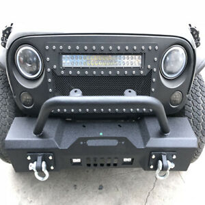 Front Bumper For 07 18 Jeep Wrangler Jk Rock Crawler With Fog Hole