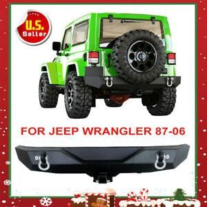 Wrecking Front Bumper Cree Led Lights Winch Plate For 87 06 Jeep Wrangler Yj Tj