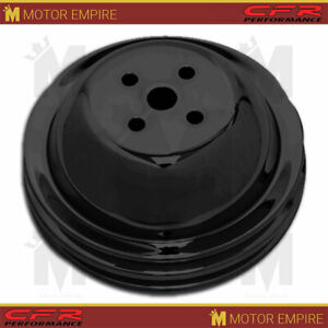 Fits 1955 1968 Chevy Bb Big Block Black Steel Water Pump Pulley 2 Groove Short