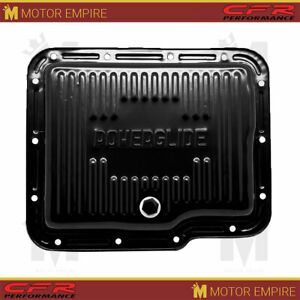 Fits Chevy Gm Powerglide Steel Transmission Pan Black With Drain Plug