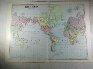 1899 Antique Map Of The World 22 25x16 25 Colorful Bright