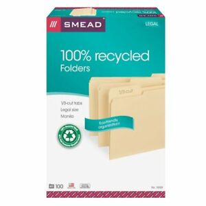 Smead 15339 Manila 100 Recycled File Folders Legal 8 50 X 14 0 75