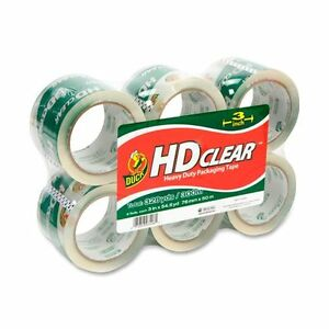 Duck Hd Clear Extra Wide Packaging Tape 3 Width X 55 Yd Length 6 Pack