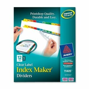 Avery Index Maker Punched Clear Label Tab Divider Blank 12 Tab s set