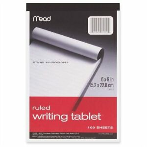 Mead Top bound Writing Tablet 100 Sheet 20 Lb Ruled 6 X 9 1 Each