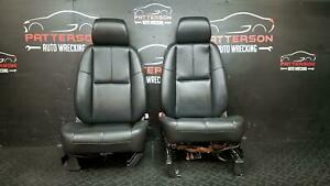 2008 Chevy Tahoe Front Driver Passenger Power Leather Bucket Seat Black 19i