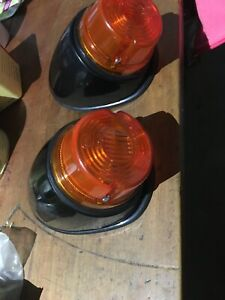 Vintage Hella Indicator Lights With Plastic Angle Bases And Seal Hella Nos