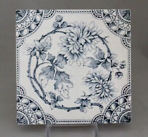 Antique English 6 Tile Victorian Blue Floral Aesthetic Transfer Printed
