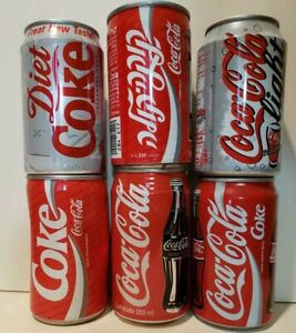 Six foreign Coca-Cola cans Nambia, Brazil Malaysia, Israel Netherlands Singapore