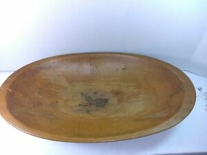Antique Primitive Hand Hewn Dough Bowl With Old Repair Well Used