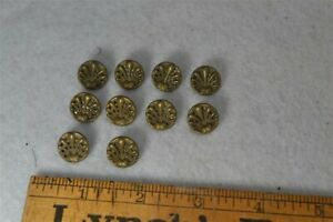 Sewing Button Victorian Picture 1 2 Brass Lot 10 Matching Antique Original